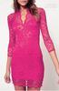 New Women Lace Mini Dress Scalloped V-Neck elegance Ladies Sexy Slim 3 4 Sleeve Cocktail Dress rose