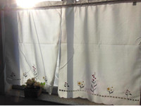 Wholesale 2pcs set Pretty Beige Cream with embroidered Flower Kitchen Bathroom Curtain Tire