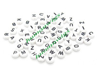 Wholesale 1000pcs mm White Mixed Alphabet Letter Acrylic Beads New Spacer Beads LZC0112