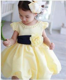 Wholesale 2017 new arrive baby full dress girl pearl collar princess dress summer kids garment Retail