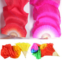 Wholesale HOT Selling Colors Hand Made Colorful Belly Dance silk bamboo fan Dancing Silk Long Fans Veils