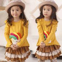 Wholesale Children Yellow T Shirts Kids Long Sleeve T Shirt Casual Princess Shirts Girls Bowknot Lace Tops
