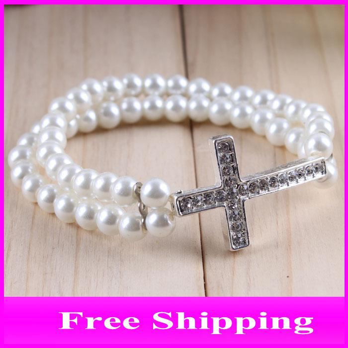Beaded Sideways Cross Bracelet Sideway Cross Bracelet Jewelry