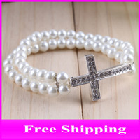 Wholesale Sideway Cross Bracelet Jewelry Rhinestones Faux Pearl Bracelet Handmade Side Ways Cross XL01