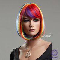 Wholesale Female Glamorous Charming fashion BOBO short rainbow straight Synthetic women Wig Hair H9099Z