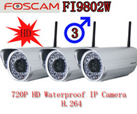 Wholesale three Foscam FI9802W HD MegaPixel Outdoor Wireless IP Security Cam H webcam