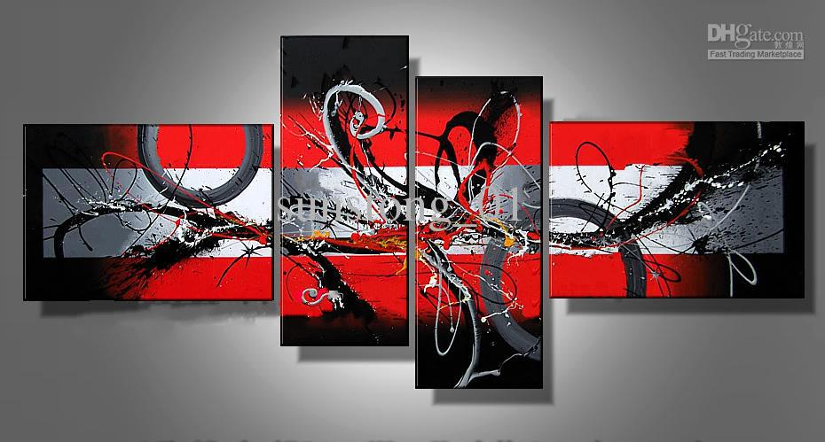 China Red Abstract Art Four Group Oil Paintings Museum