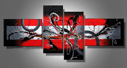 Wholesale China Red Abstract Art Four Group Oil Paintings Museum Quality Painting Popular Handmade paining