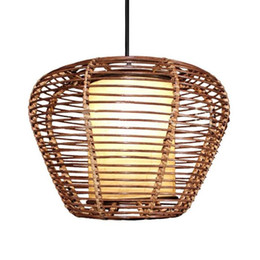 Southeast Asia Rattan Round trapezoid Dining Room Ceiling Pendant Lights Handmade Study Room Restaurant Parlor Pendant Chandelier Fixtures