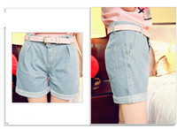 Wholesale 2013 Women s Cool sexy light blue High Waisted Oversize Crimping Jeans Shorts pants with pink belt
