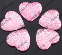 Wholesale 20MM Heart Shape Flatback Resin Beads Rhinestone Beads Flat Back Stick On Cabochons DIY Fit Glue