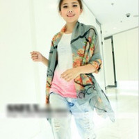 Wholesale The scarf super Flax cotton scarves scarf shawl beach towel Korean Chinese painting flowers