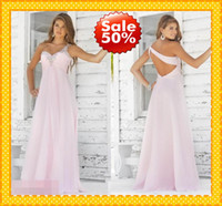 Wholesale Stock Blue Blush OFF Fashion Empire Chiffon Long HOT Bridesmaid Dresses Prom Party pageant Dress