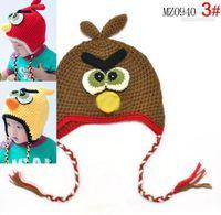 Wholesale 10pcs Hot sales Baby Boy amp Girl Crochet Earflap Hats Bird cap Flower crochet hats Fit T