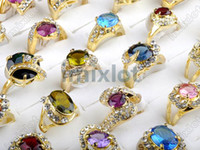 Wholesale 35 Off Mixed Charming CZ Rings Wedding Gold Plated Rings Jewelry Fashion CZ41