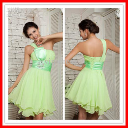 Wholesale Special Price On Sale Sexy One shoulder Short Chiffon In Stock Ready Party Dress Homecoming Dresses