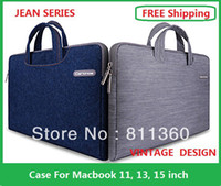 Wholesale High Quality Brand Laptop Handbag Jeans Sleeve Case Protector For MacBook Air Pro Retina inch Wholesales Colors