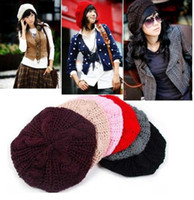 Wholesale Hot Selling Colors Winter Warm Womens Beret Braided Baggy Beanie Knitted Hat Cap