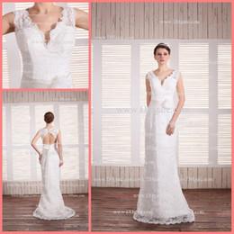 Wholesale Elegant charming V neck Lace Backless Button Bow Column Sheath Floor Length Wedding Dress042