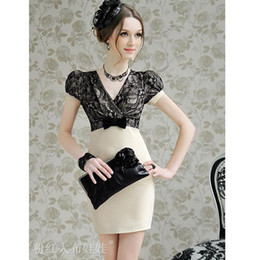2016 Hot western Fashion women dress sexy beige lace slim bowknot dress V-neck short sleeve skirts