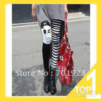 Leggings Striped as the photo Holiday Sale FREE SHIPPING Lady's Punk Gothic Pirate Skull Striped Skinny Leggings Y3225