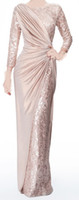 sexy mother - Sexy Long Sleeves Chiffon Jewel Lace Pearl Pink Ruffle Evening Dresses Mother of the Bride Dress