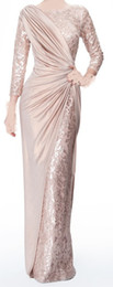 Wholesale Sexy Long Sleeves Chiffon Jewel Lace Pearl Pink Ruffle Evening Dresses Mother of the Bride Dress