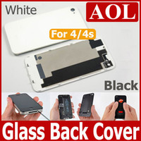 white, black iPhone 4/4s  Back Glass Battery Housing Door Cover Replacement Part GSM for iphone 4 4S Black White Color Housing