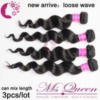 Wholesale DHL mix length virgin brazilian loose wave human hair weave weft extension