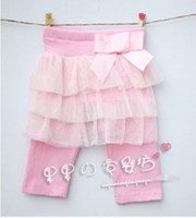 Wholesale 2013 Girls Cotton Pink Bow Layer Lace Capri Pants Long Trousers Kids Leggings and Tights
