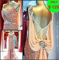 Wholesale 2013 Sweetheart Sequin Ruched Rhinestone Beaded Column Sweep Train Prom Dresses Evening Gowns I