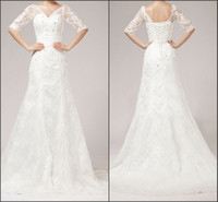 Real Photos V-Neck Tulle Free Shipping Real Model Half Sleeves A-line V-neckline Lace Wedding Dress