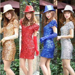 Wholesale Hot Sale Stage Dresses Fashion Full Sequins Slim Dresses Dresses Woman Full Deads Mini Dresses
