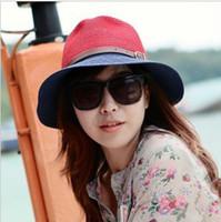 Wholesale 2 tone Summer Beach Sun Straw Beach Derby Hat Cap
