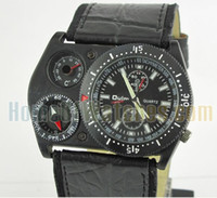 Fashion Men's Chronograph 2013 Luxury Compass Army Quartz Wristwatch 57mm*36mm Stainless Leather Oulm Mens Watch Men's Watches