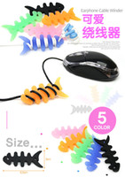 Wholesale Silicone Fish Bone Earphone Cord MP3 MP4 player Cable Winder Holder Organizer Free DHL fedex