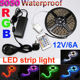 RGB Waterproof LED Strip Light SMD5050 300 led rope light +12V 6A Power Supply +IR Remote Controller