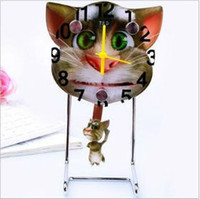 Wholesale Creative Swinging Cartoon Clocks Session Cats Children Gifts Quartz Pointer Table Clocks WYW