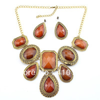 Earrings & Necklace Crystal, Rhinestone Alloy Min.Order $10 PN12510 Vintage Necklace Set Jewelry Set Brown Color Charm Necklace Womman Dress Chock