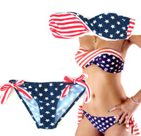 Wholesale Lady American Flag Bikini SEXY beachwear Bandea spa suit Top strapless split Swimwear T13031222