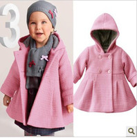 Wholesale 5pcs stock Christmas girl s winter pink and red coat baby girl s outwear Hooded flared