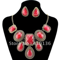 Earrings & Necklace Crystal, Rhinestone Alloy Min.Order $10 PN12338 Vintage Necklace Set Jewelry Set Red Color Charm Necklace Womman Dress Chocker