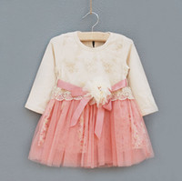 ribbon rose - CLEARENCE baby girl kids long sleeve rose floral tutu dress embroidery dress lace crochet dress flower tutu dress ribbon waistband cotton