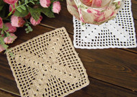 Wholesale 20 OFF Cup doily Insulation pad Beige vase pad handmade cup mat cm crochet square cotton