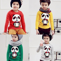 2013 Spring Children's T- shirts Pandas Bow Long- sleeved T- sh...