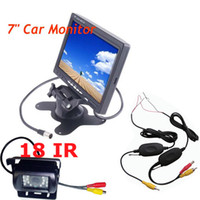 "Car Camera   7"" LCD Monitor Car Rear View Kit + Wireless 18 IR LED IR Reversing Camera Free Shipping"
