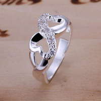 Wholesale Crystal shaped Top sales Silver High quality Noble fashion charm Ring Gift Jewelry R49