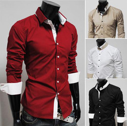 Wholesale Hot sale Men Double collar Men s Long Sleeve Shirts Casual Slim Shirt