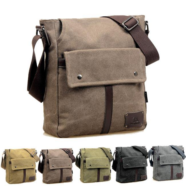 Vintage Casual Canvas Men's Cross Body Bag Solid Unisex Simple ...