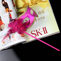 Wholesale lady color bar holder masquerade mask masked ball Halloween mask stick performance accessories